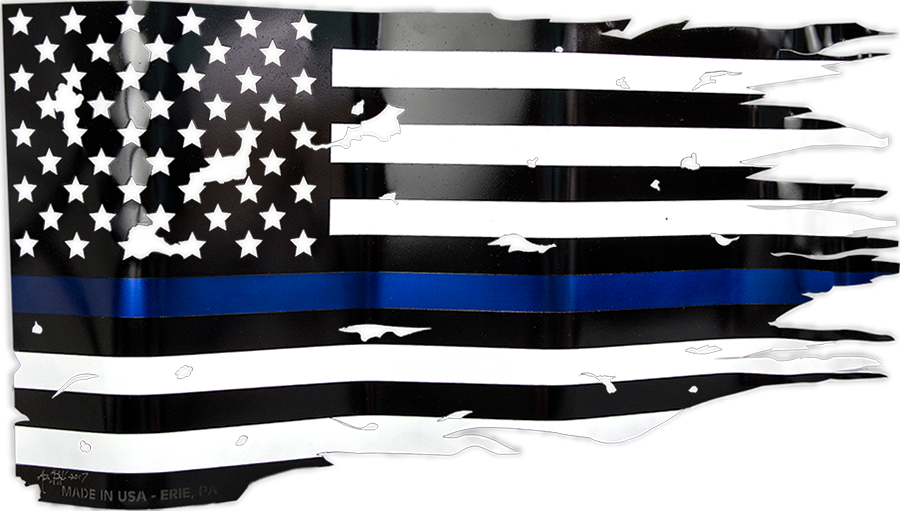 Distressed American Flag license plate law enforcement support police
